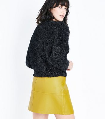 Yellow Leather-Look Mini Skirt New Look