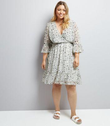 Curves Cream Floral Print Flute Sleeve Dress New Look