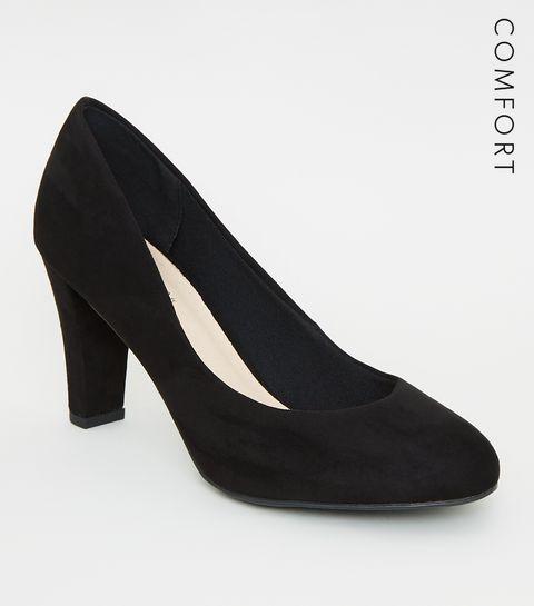 5215d68238de ... Black Comfort Flex Suedette Block Heel Court Shoes ...