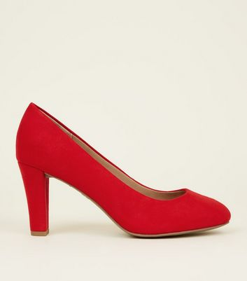 Red Comfort Flex Suedette Block Heel Court Shoes