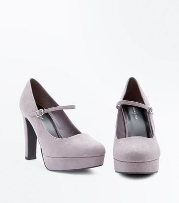 Grey Suedette Platform Ankle Strap Courts New Look