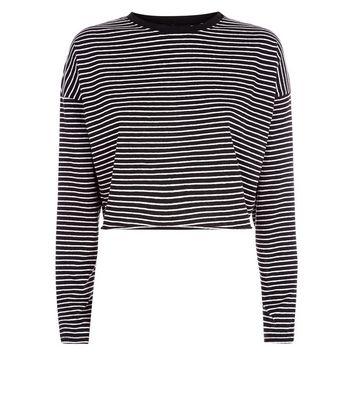 Black Stripe Long Sleeve Crop Top New Look