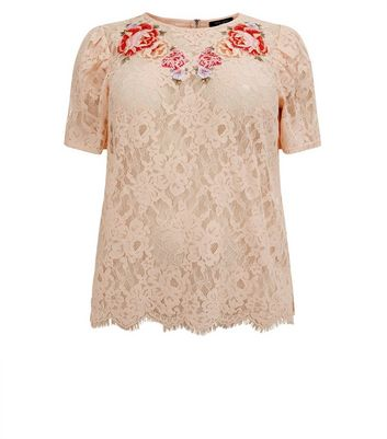 Curves Shell Pink Floral Lace Floral Applique T-Shirt New Look