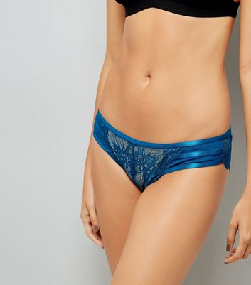 Teal Lace Strappy Brazilian Briefs New Look
