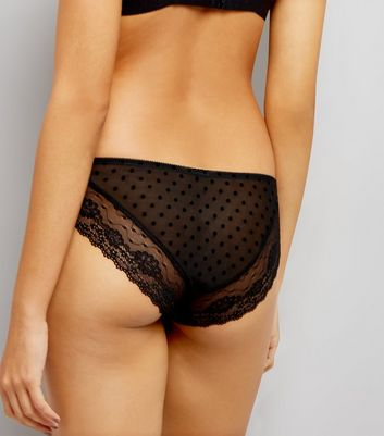 Black Mesh Spot Brazilian Brief New Look