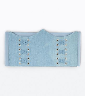 Denim Curved Hem Corset Belt New Look