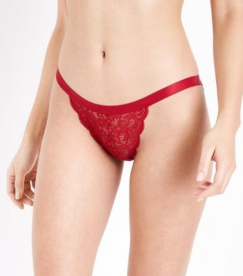 Red Cut Out Lace Brazilian Briefs New Look