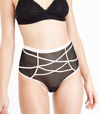 Black Lattice High Waisted Thong New Look