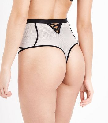 Nude Lattice High Waisted Thong New Look