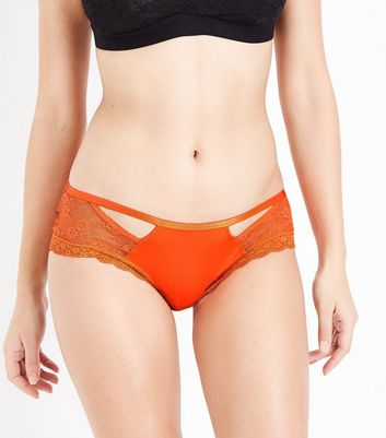 Bright Orange Strappy Briefs New Look