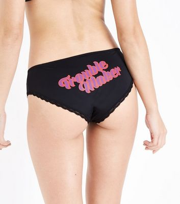 Black Trouble Maker Slogan Briefs New Look