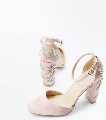 Wide Fit Nude Satin Embellished Block Heel Courts New Look