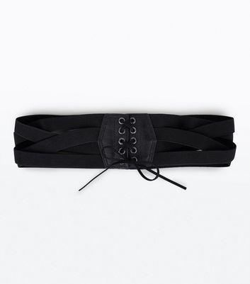 Black Cross Strap Elasticated Waist Belt New Look