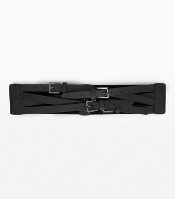 Black Multi Buckle Waist Belt New Look