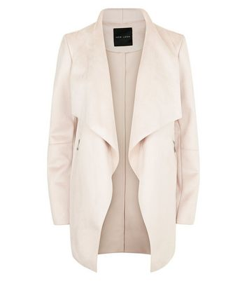 Pink Suedette Waterfall Jacket New Look