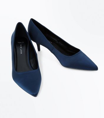 Wide Fit Navy Satin Kitten Heel Court Shoes New Look