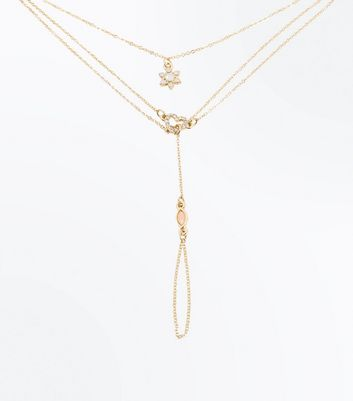 Gold Heart and Flower Embellished Hand Chain New Look