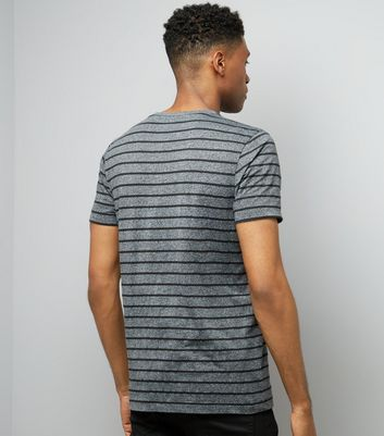 Grey Marl Stripe Crew Neck T-Shirt New Look