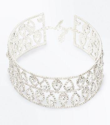 Silver Wide Structured Diamante Teardrop Choker New Look