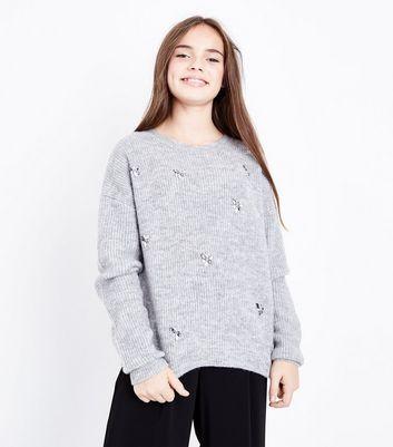 Teens Grey Embellished Jumper New Look