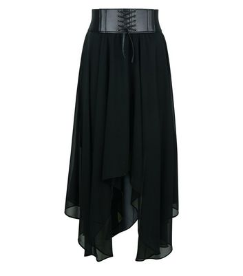 Teens Black Corset Belt Hanky Hem Skirt New Look