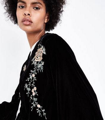 Black Velvet Embroidered Kimono New Look