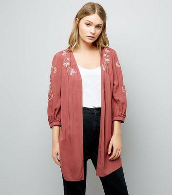 Orange Cross Stitch Floral Embroidered Kimono New Look