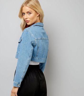 Blue Super Cropped Denim Jacket New Look