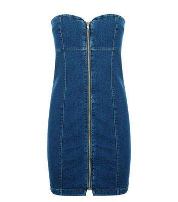 Blue Denim Bodycon Zip Front Dress New Look