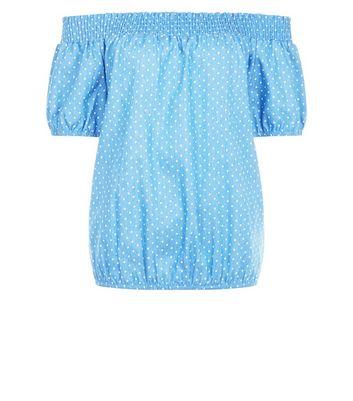 Apricot Blue Polka Dot Print Bardot Neck Top New Look