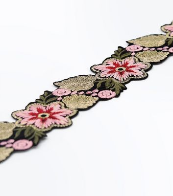 Black Floral Embroidered Wide Choker New Look