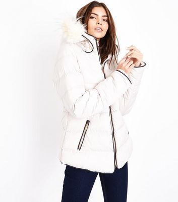 Blue Vanilla Stone Piped Hooded Puffer Jacket