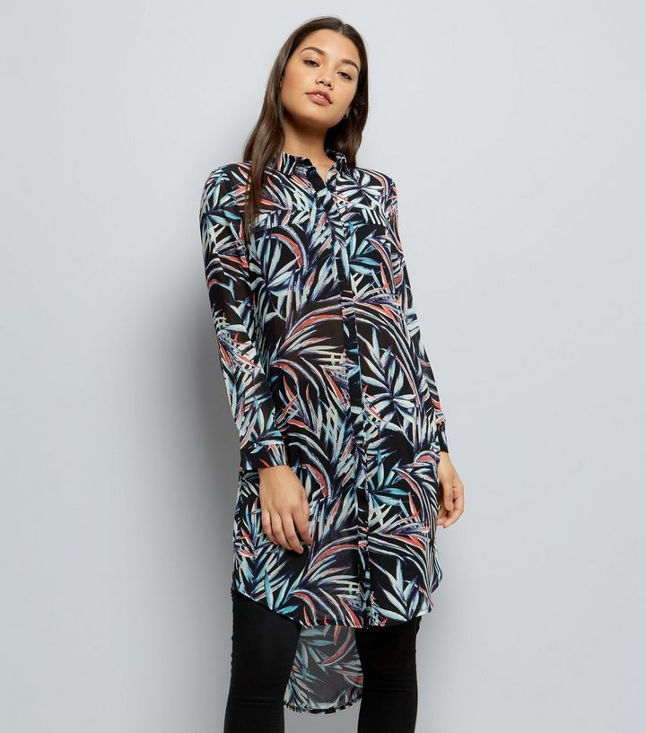 2dd9a0032b Apricot Blue Tropical Print Longline Shirt Dress