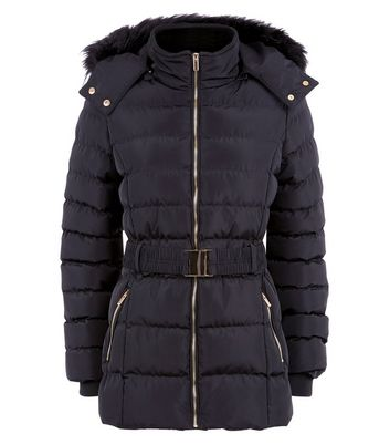 Blue Vanilla Black Belted Puffer Jacket New Look