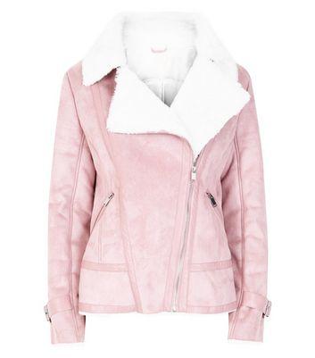 Blue Vanilla Shell Pink Aviator Jacket New Look