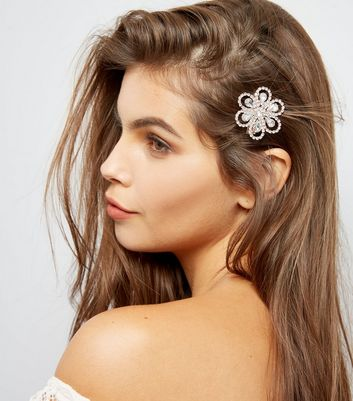 2 Pack Gold Gem Embellished Flower Hair Clips New Look