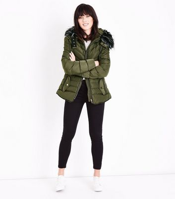 Blue Vanilla Olive Green Faux Fur Trim Fitted Puffer Jacket New Look