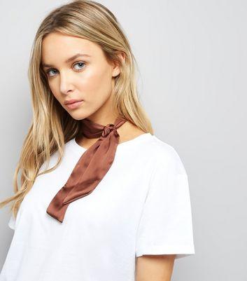 Brown Satin Necktie New Look