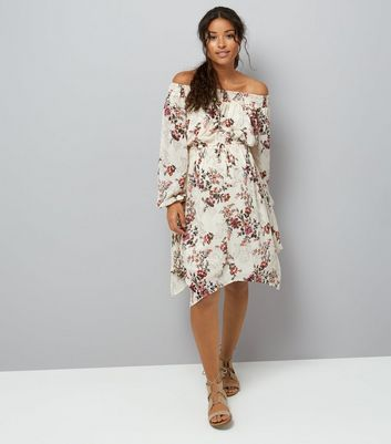 White Floral Print Hanky Hem Dress New Look
