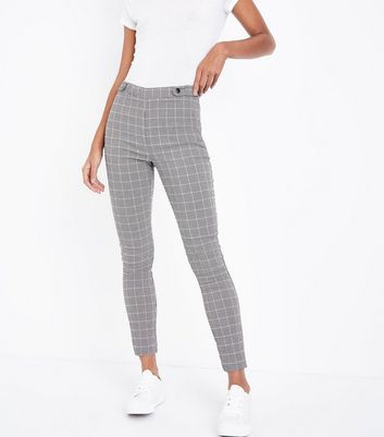 Black Check Popper Side Skinny Trousers New Look