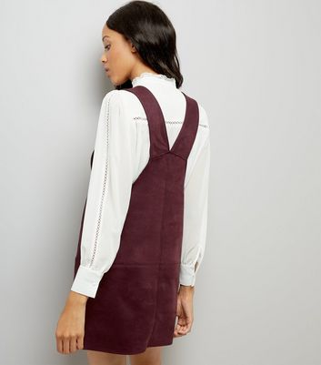 Burgundy Suedette Pinafore Dress New Look