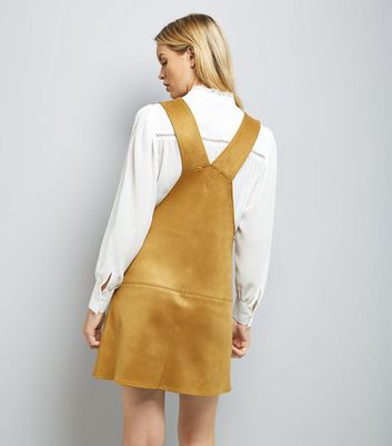 Gold Suedette Pinafore Dress New Look