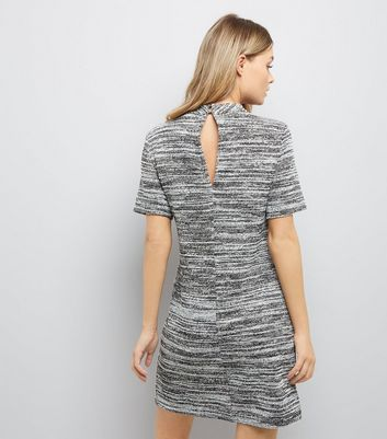 Grey Marl Choker Neck Dress New Look