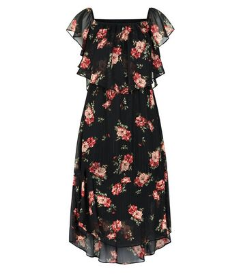 Black Floral Print Frill Trim Bardot Neck Midi Dress New Look
