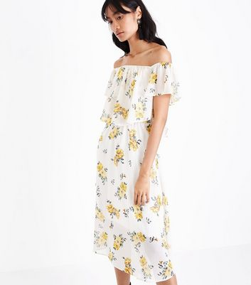 White and Yellow Stripe Floral Print Bardot Neck Midi Dress New Look
