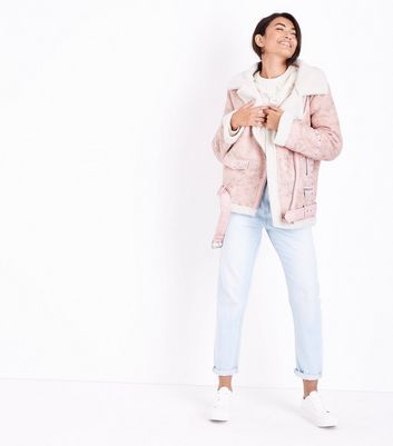 Blue Vanilla Pink Studded Aviator Jacket New Look