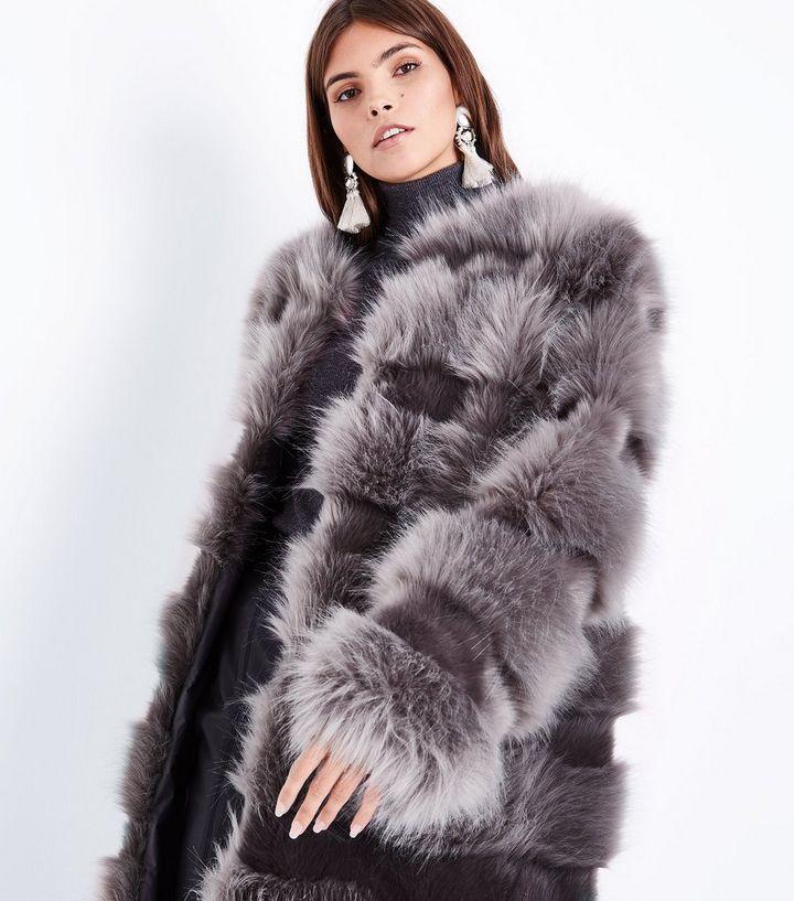 a40a929c169 Cameo Rose - Manteau gris en fausse fourrure façon peau