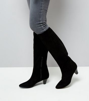 Black Suedette Knee High Heeled Boots New Look