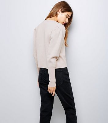 Shell Pink Glitter Puff Sleeve Jumper New Look