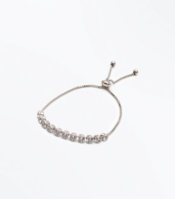 Silver Cubic Zircona Toggle Bracelet New Look
